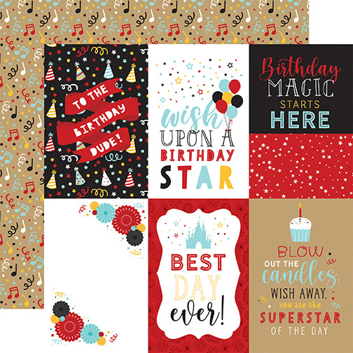 Echo Park Magical Birthday Boy - 4x6 Journaling Cards 12x12 Cardstock