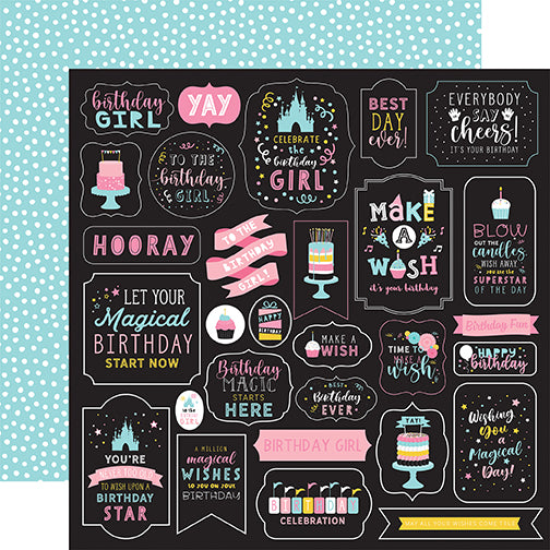 Echo Park Magical Birthday Girl - Make a Wish 12x12 Cardstock