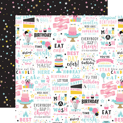 Echo Park Magical Birthday Girl - Birthday Magic 12x12 Cardstock