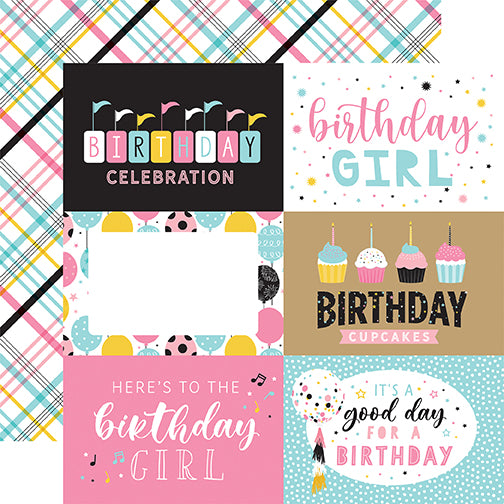 Echo Park Magical Birthday Girl - 6x4 Journaling Cards 12x12 Cardstock