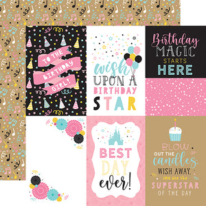 Echo Park Magical Birthday Girl - 4x6 Journaling Cards 12x12 Cardstock