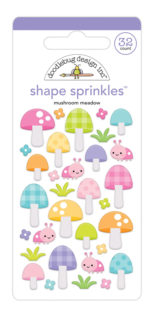 Doodlebug Designs Fairy Garden - Mushroom Meadow Shape Sprinkles