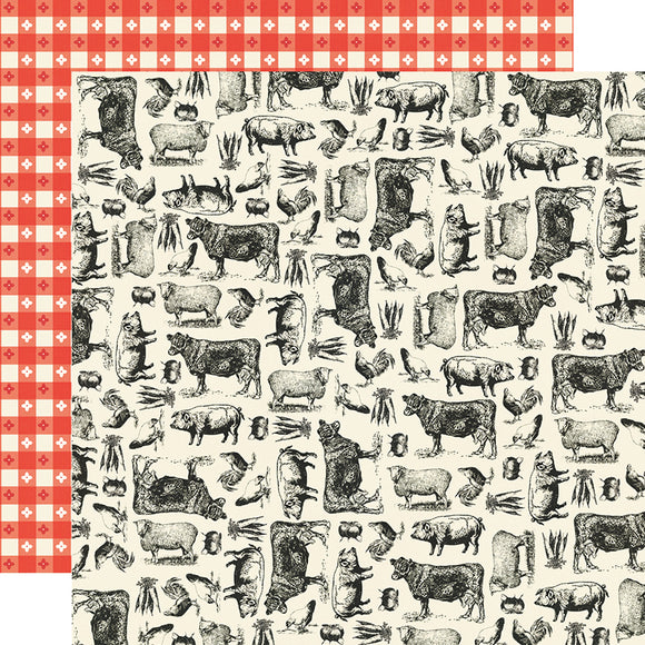 Simple Stories - Apron Strings 12x12 Cardstock - Farm to Table