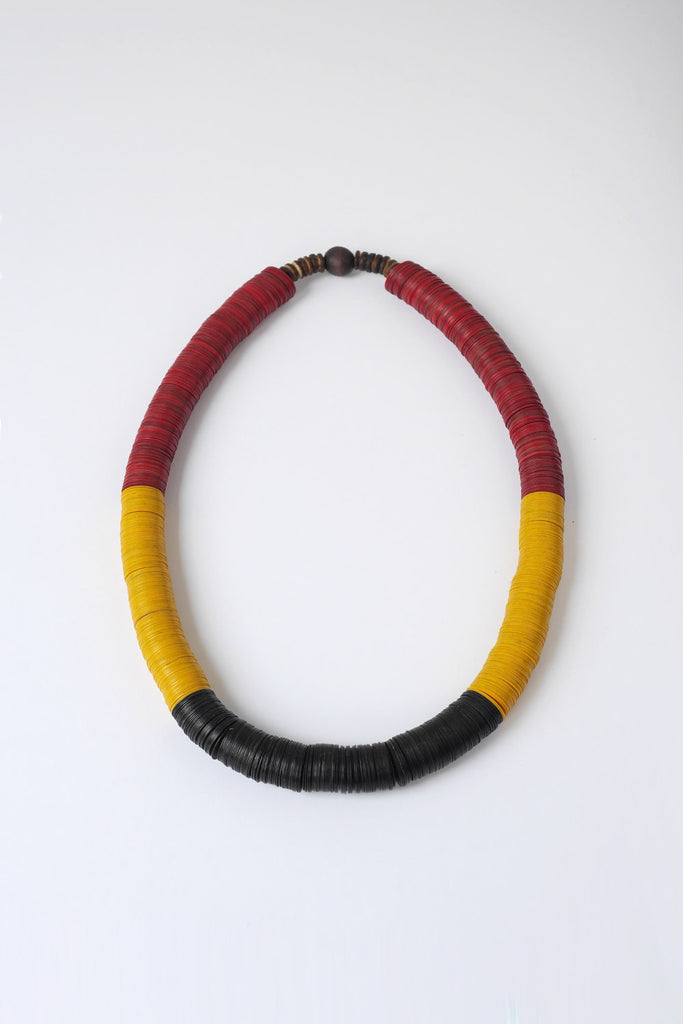 Black, Red and Yellow African Bead Necklace
