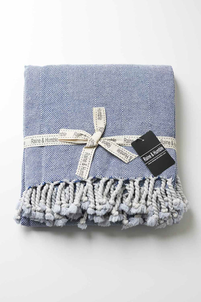 Blue Herringbone Throw