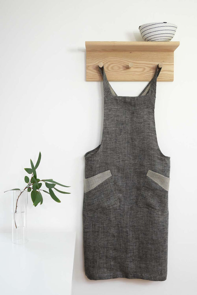 Cross Back Apron - Charcoal Grey