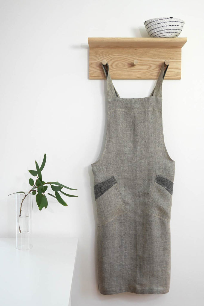 Cross Back Apron - Light Grey