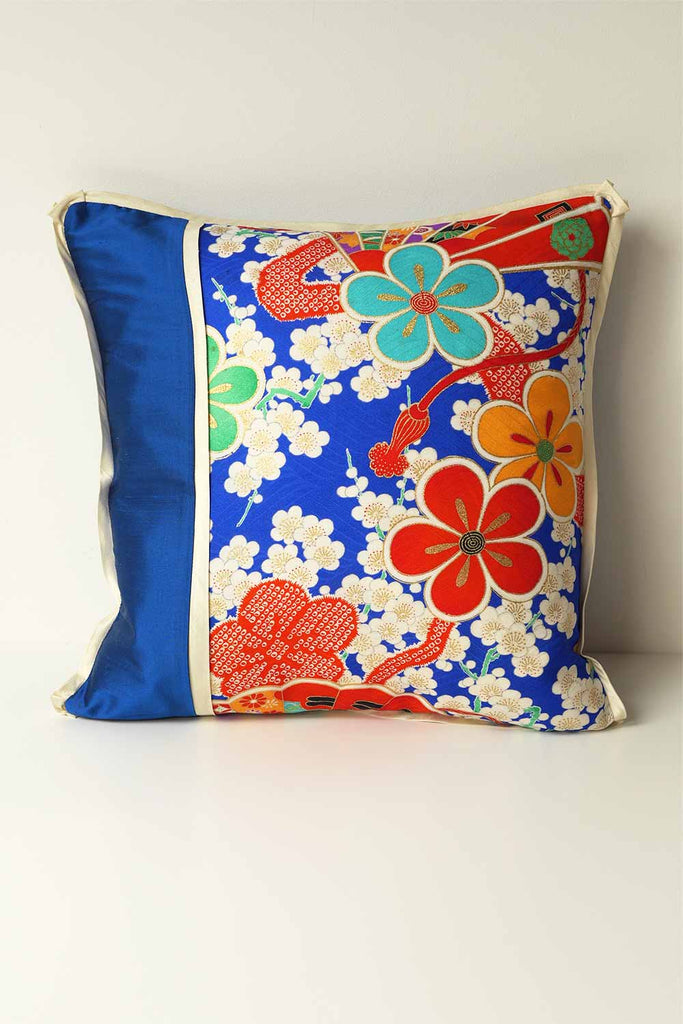 Blue Petal Silk Cushion