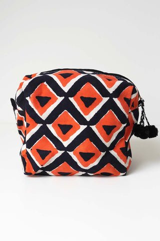 Geo Print Washbag - Orange/Black