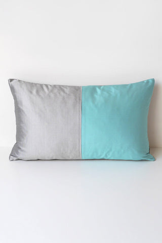 Half Silk Cushion-Turquoise