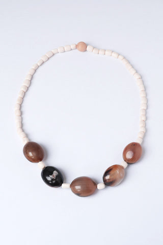 Horn and White Bone Bead Necklace