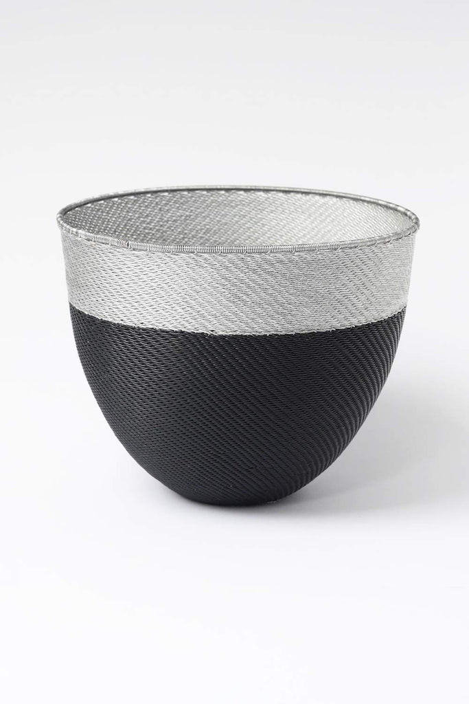 Large African Woven Bowl - Metallic Silver and Black