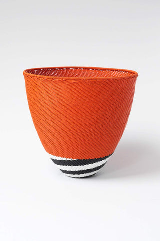 Large African Woven Cone Bowl - Orange and Black