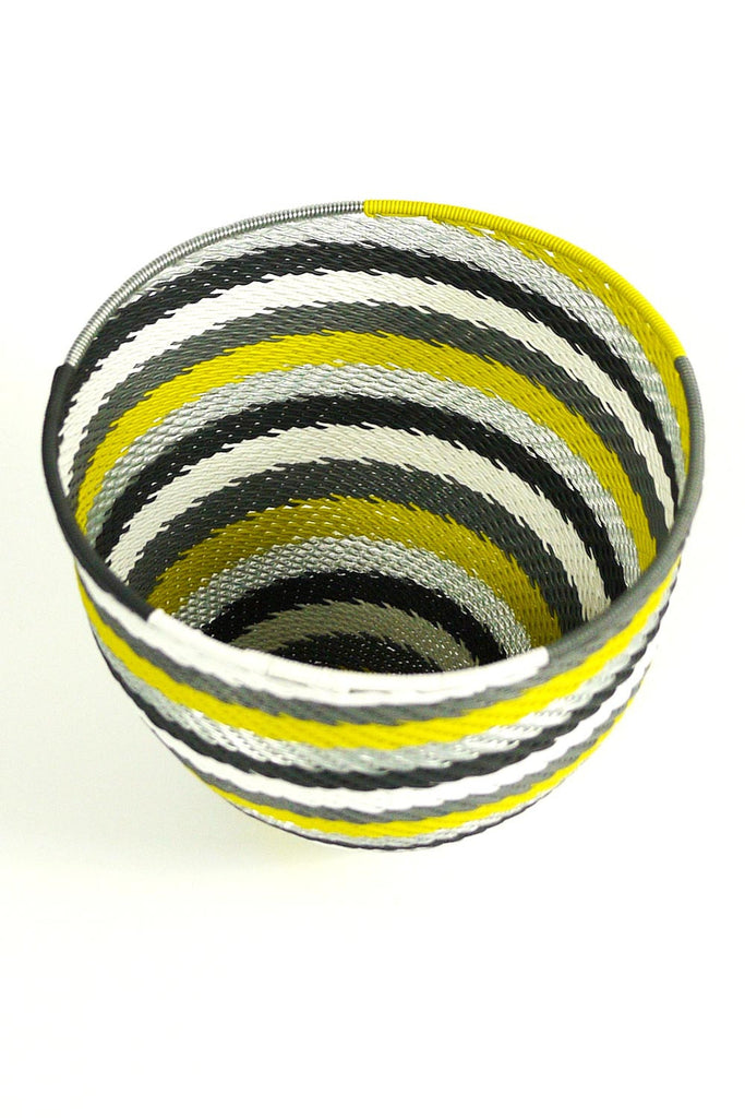 African Woven Cone Bowl - Grey/Lime