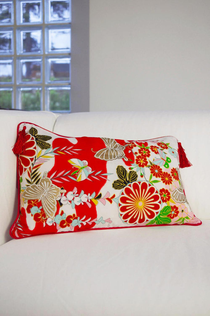 Butterfly on Flowers Cushion