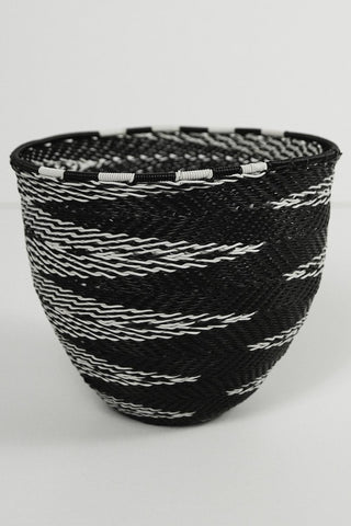 African Woven Cone Bowl - Black and White