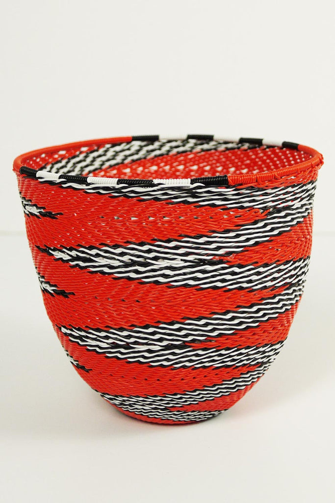 African Woven Cone Bowl - Orange