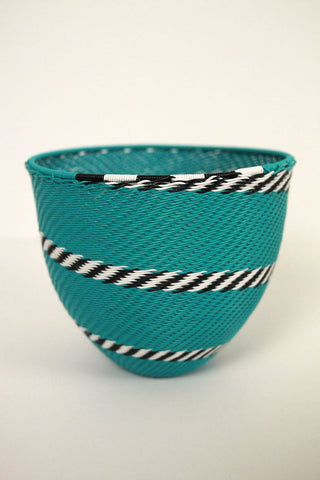 African Woven Cone Bowl - Turquoise