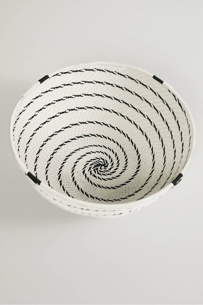 African Woven Bowl -  White and Black