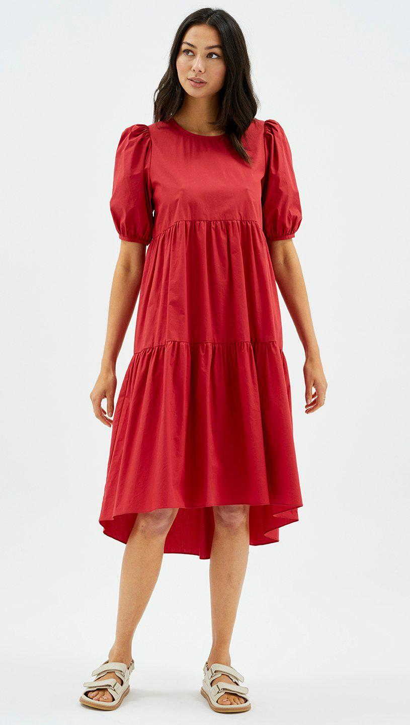 NANCY HI-LOW MIDI DRESS - RUST