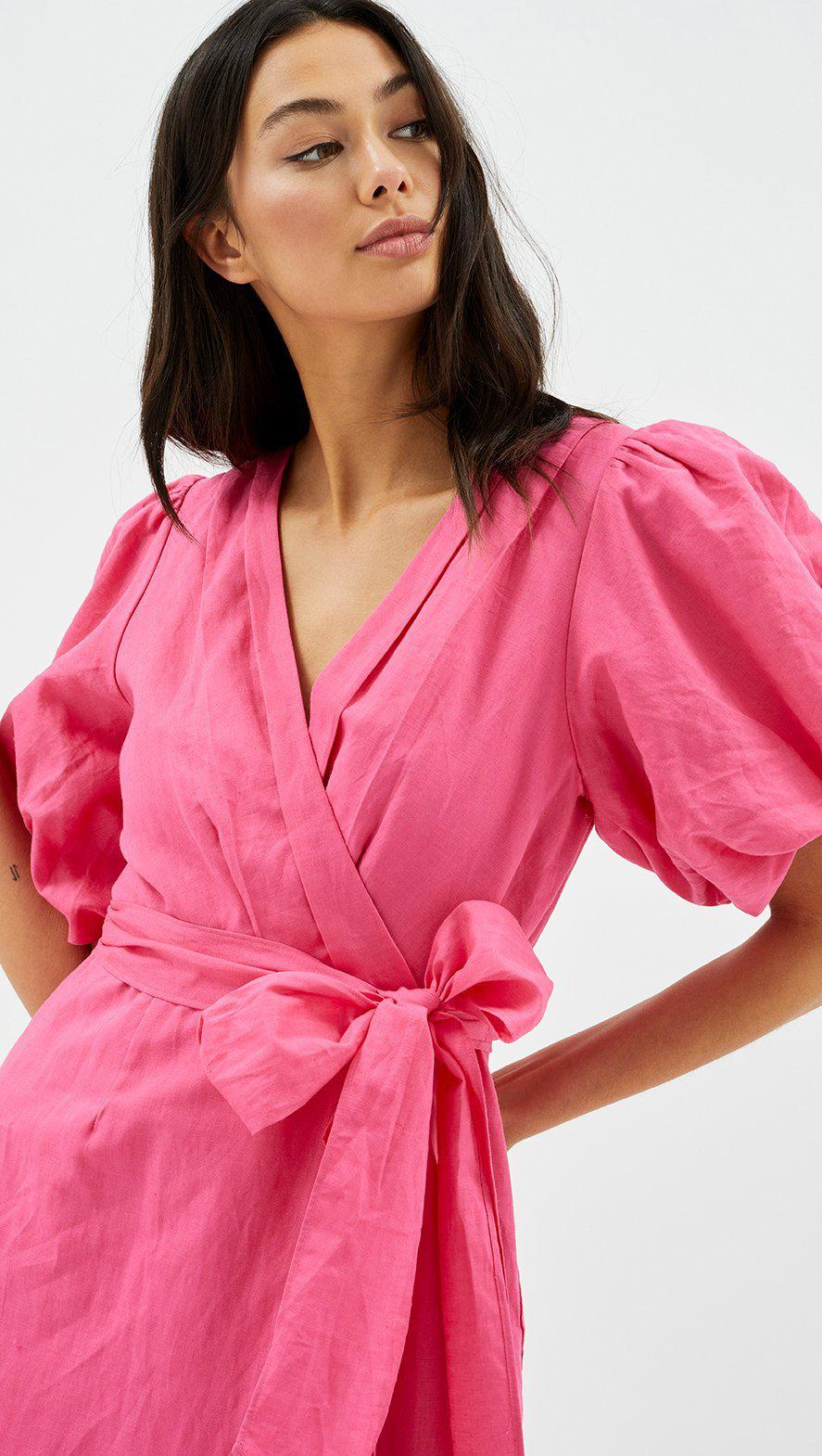 Wrap Frill Midi Dress in Pink