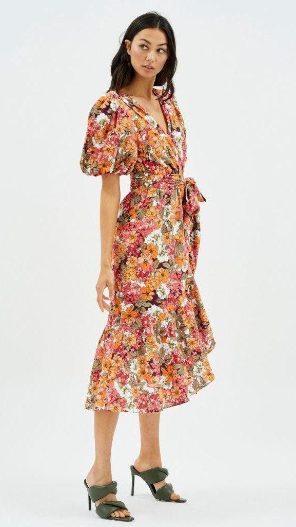 Wrap Midi Frill Dress in Floral