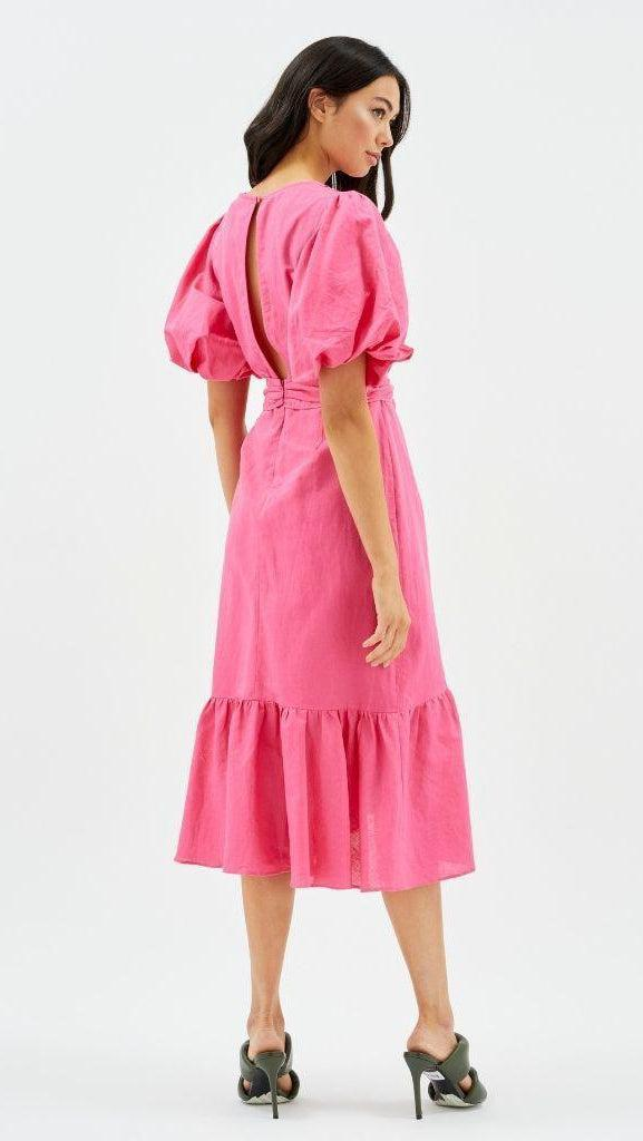 Wrap Midi Frill Dress in Pink