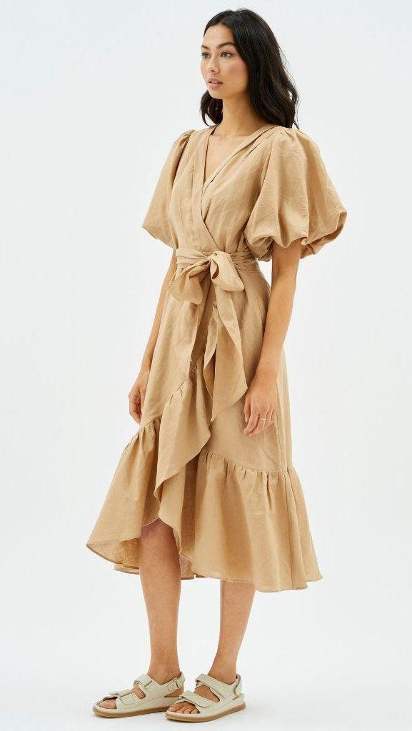 Wrap Midi Frill Dress in Nude