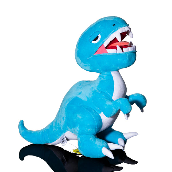 Blue Open Mouth Raptor Plush Toy