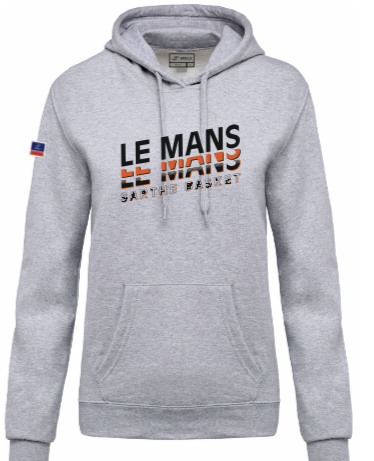 SWEAT CAPUCHE GRIS ADULTE