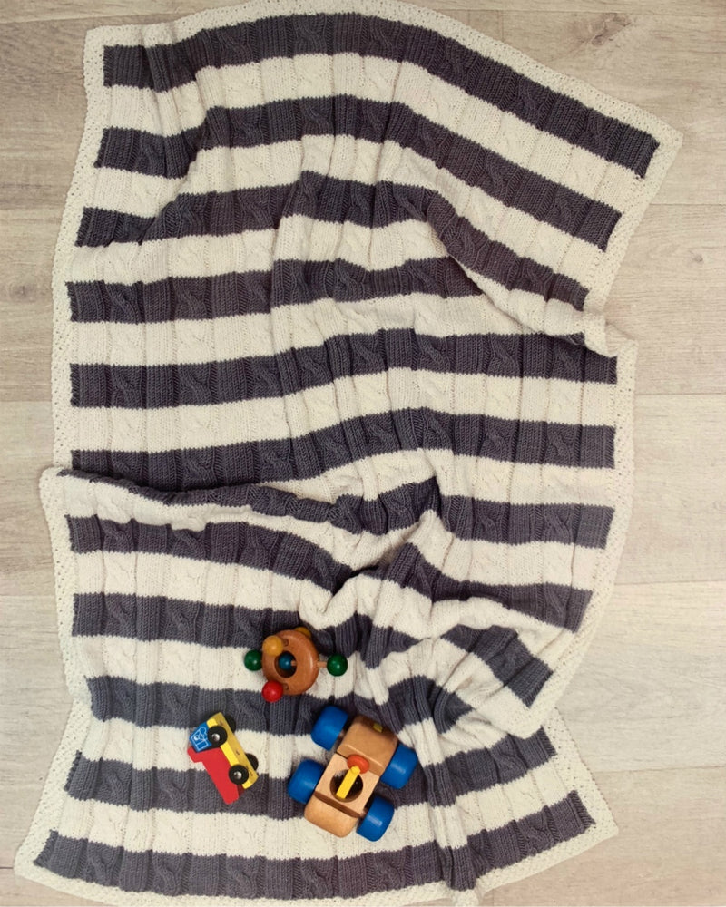 Cable Stripe Baby Blanket - Kit
