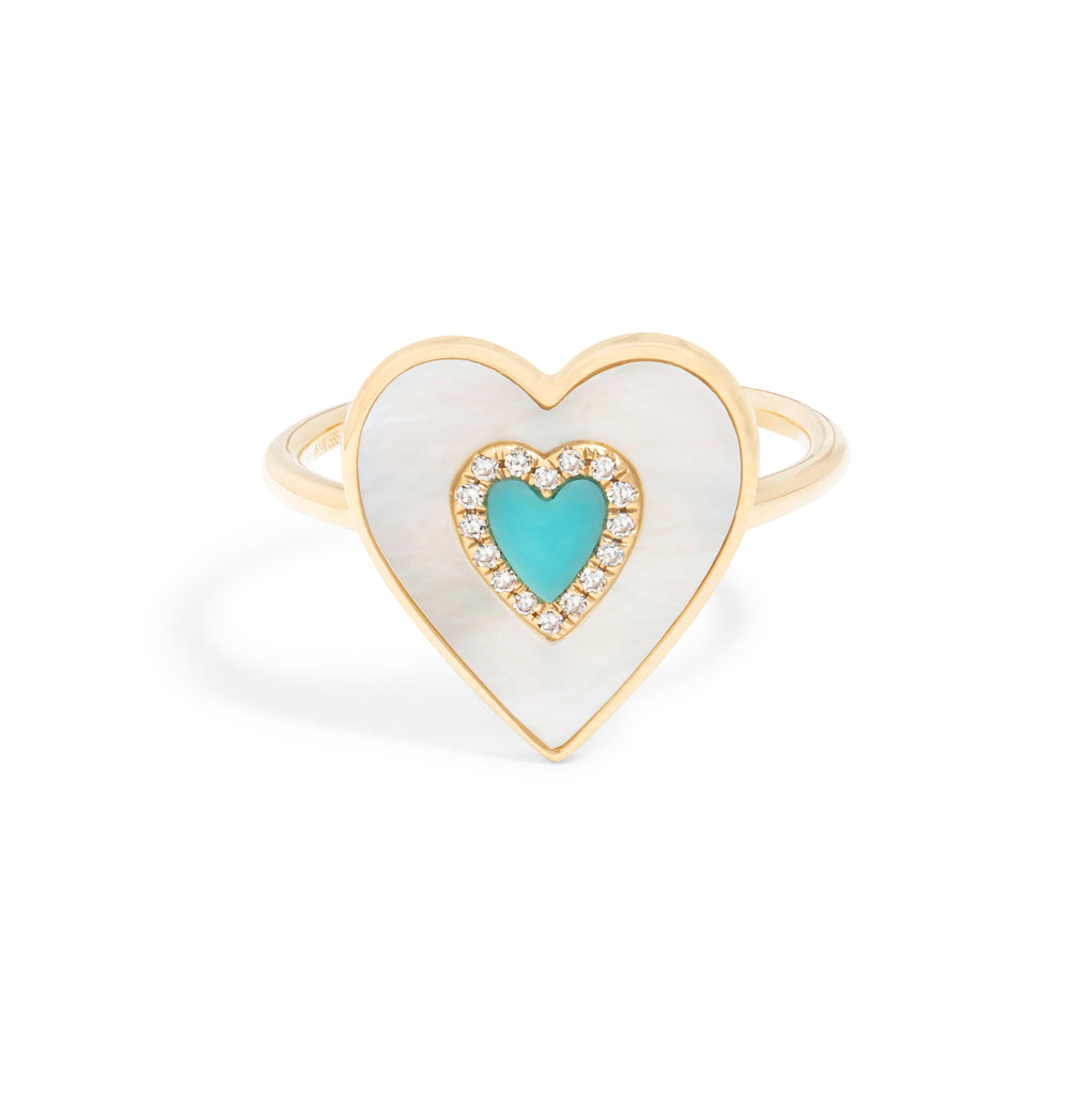 Mother of Pearl & Tourquoise Heart Ring
