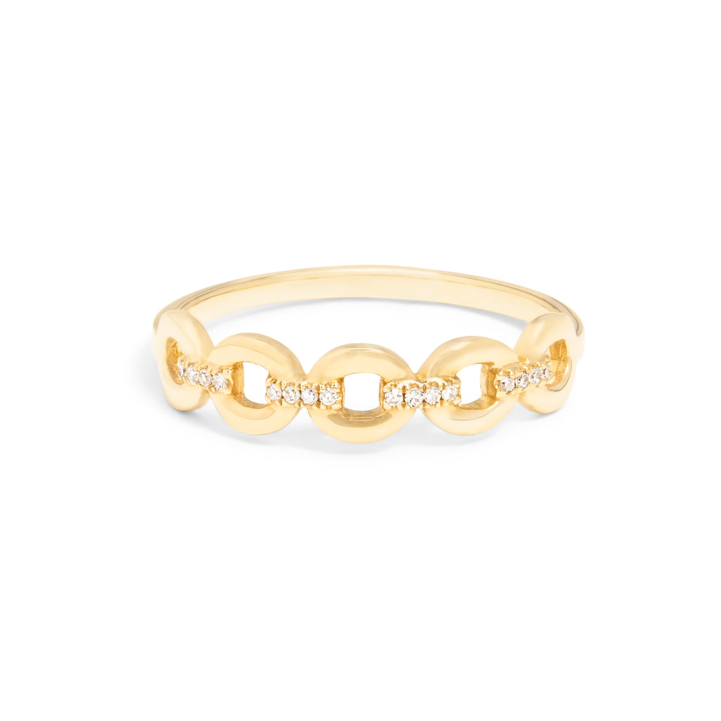 Link Chain Ring with Diamonds