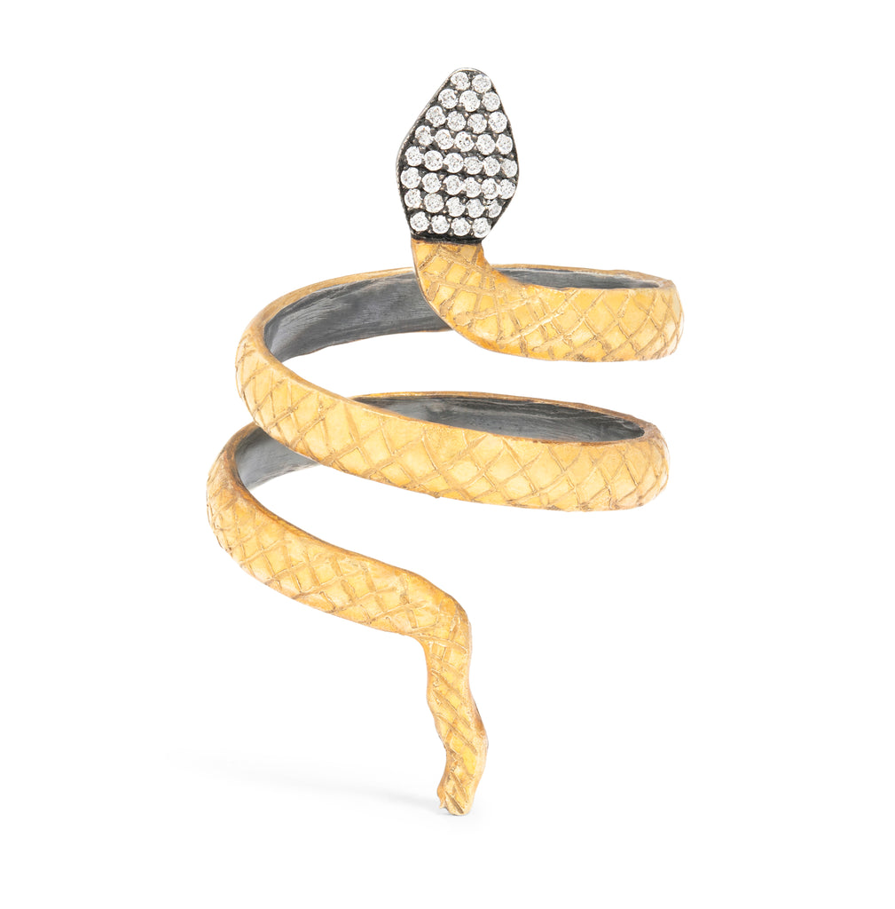 Snake Ring with Black Diamonds
