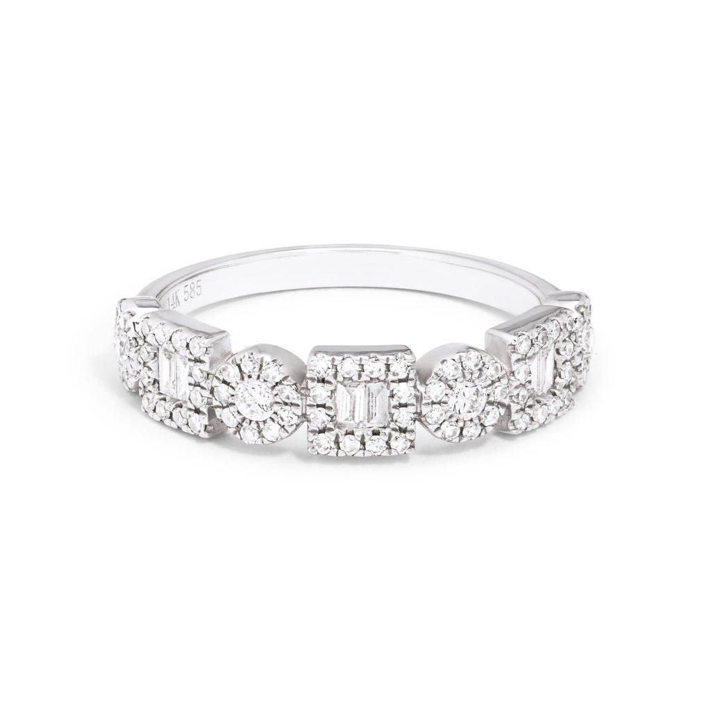 Rectangle & Circle Pave Ring