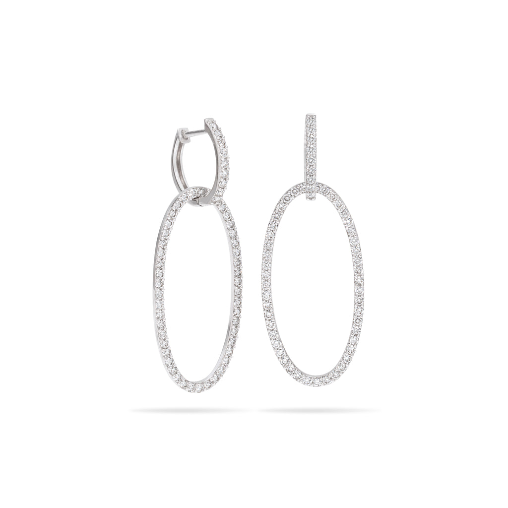 Oval Diamond Double Earring