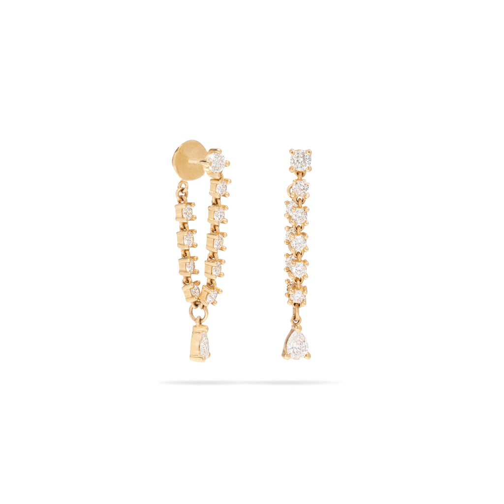 Hanging Diamond Chain with Stud Earring