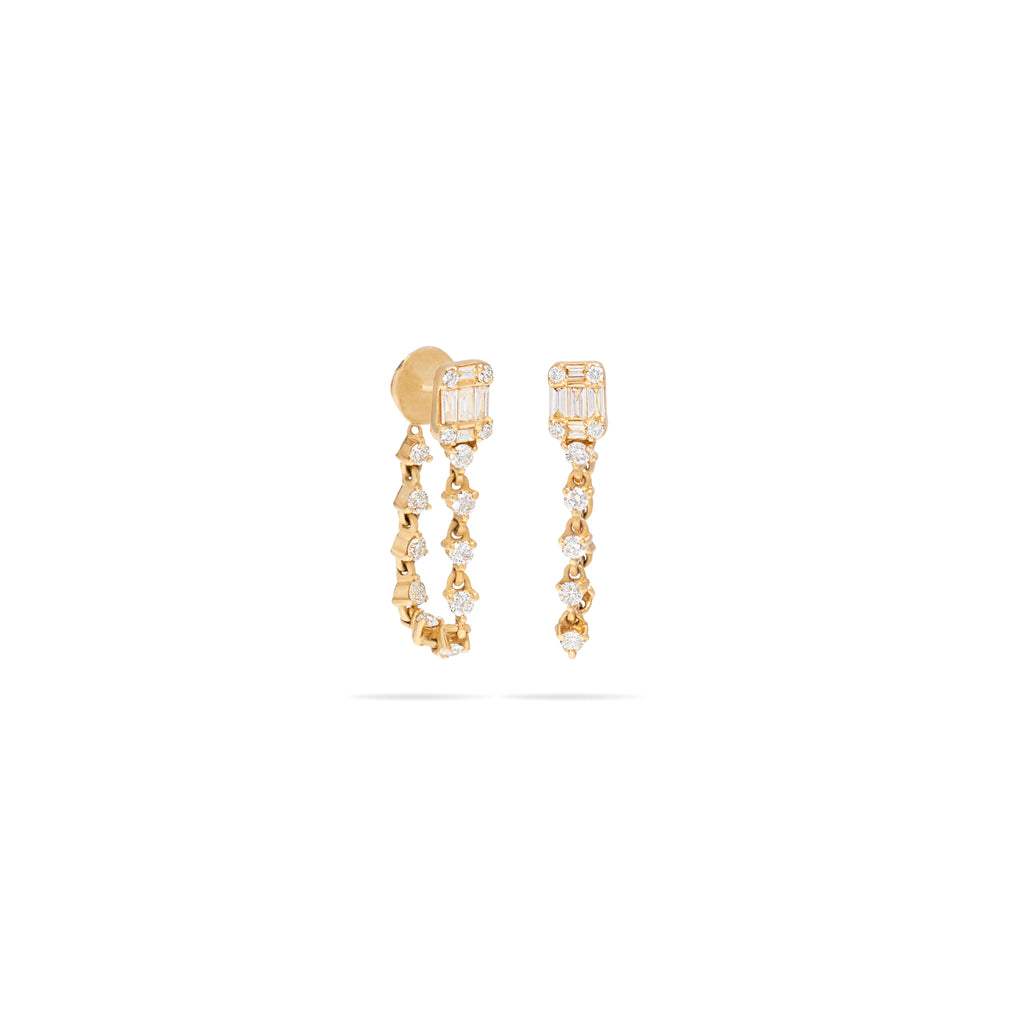Baguette Diamond Stud with Chain Earring