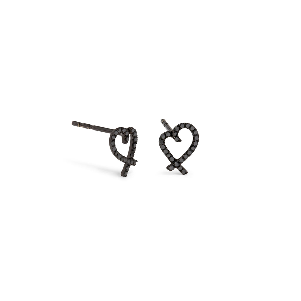 Black Diamond Open Heart Studs
