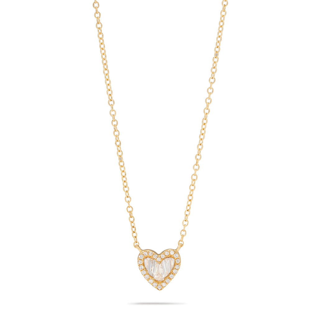 Mini Heart Baguette Necklace