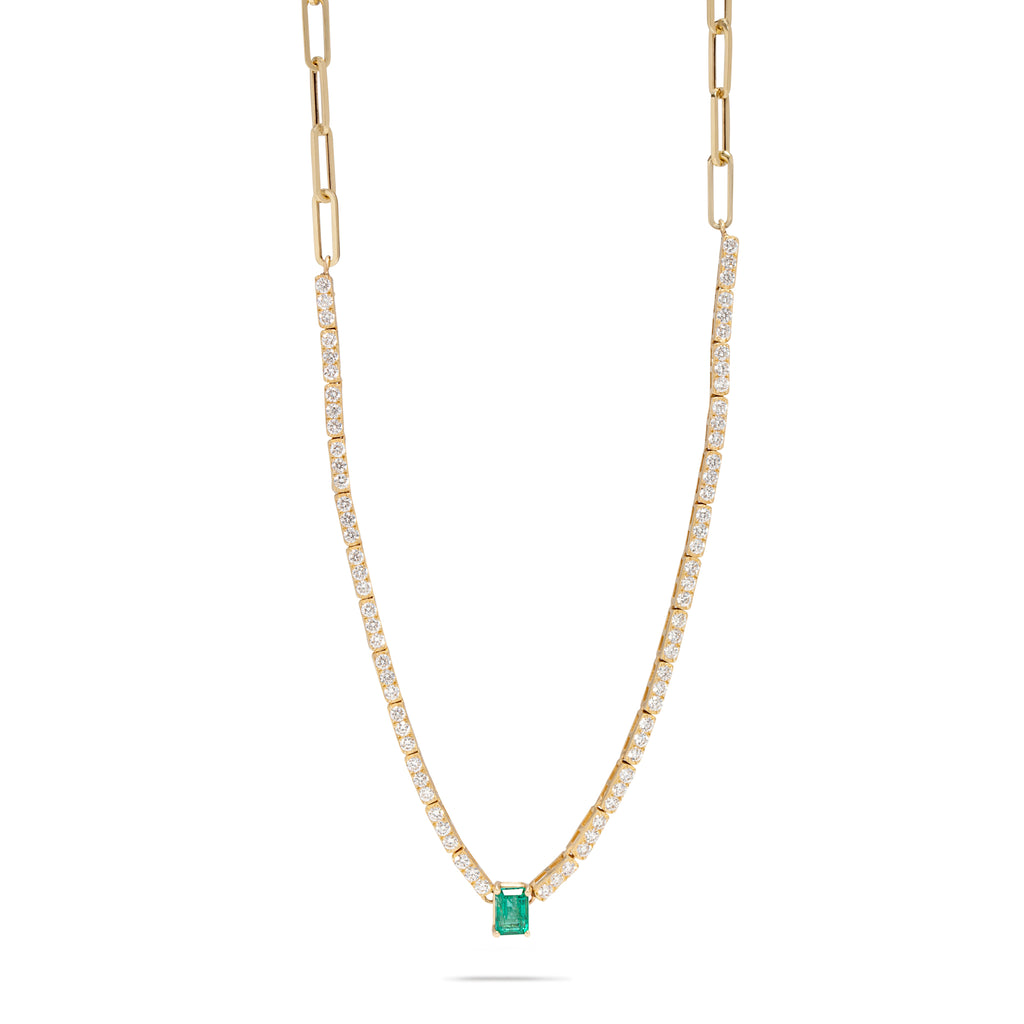 Emerald Tennis Necklace with Link Chain