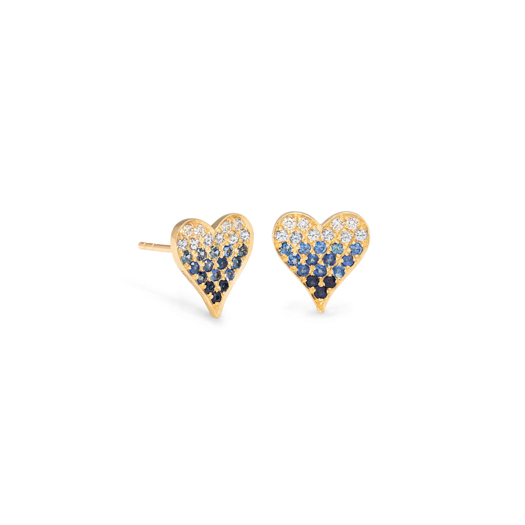 Blue Ombre Heart Studs
