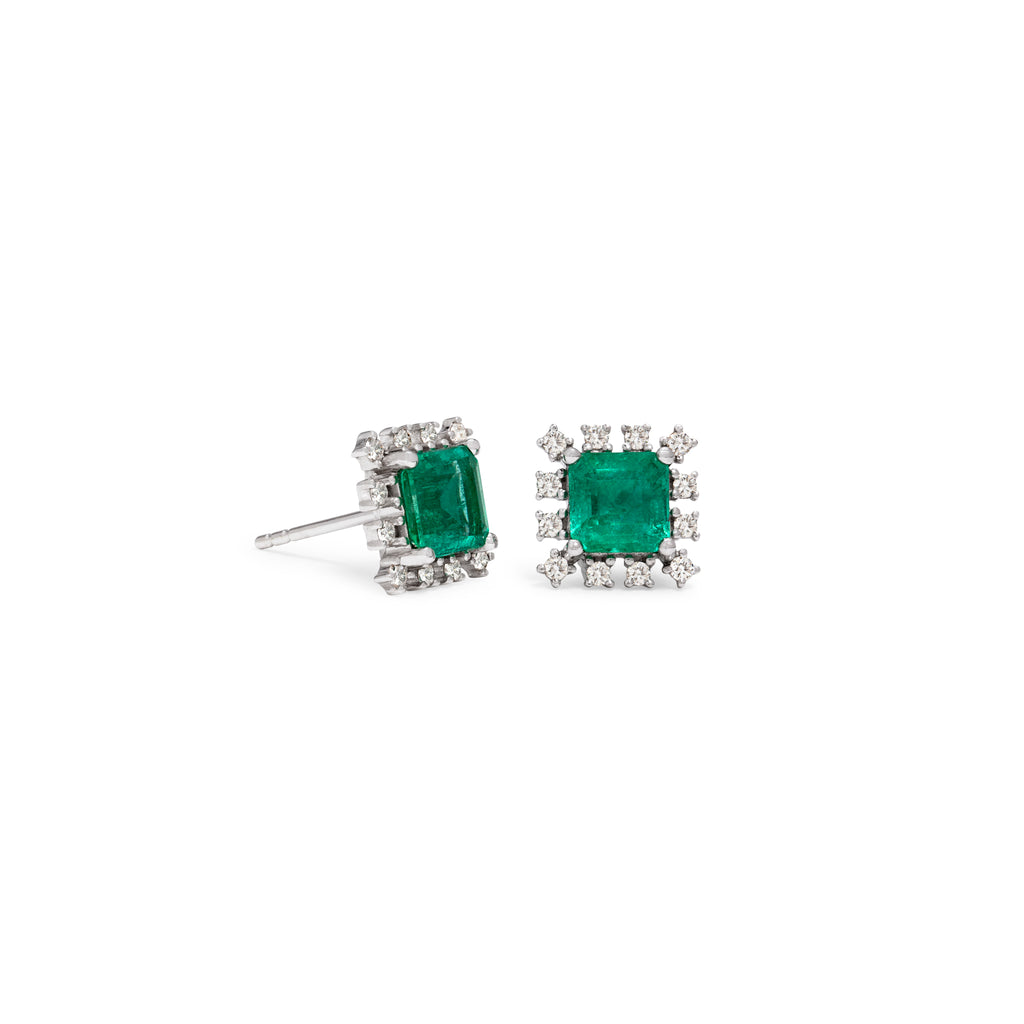 Emerald & Diamond Stud