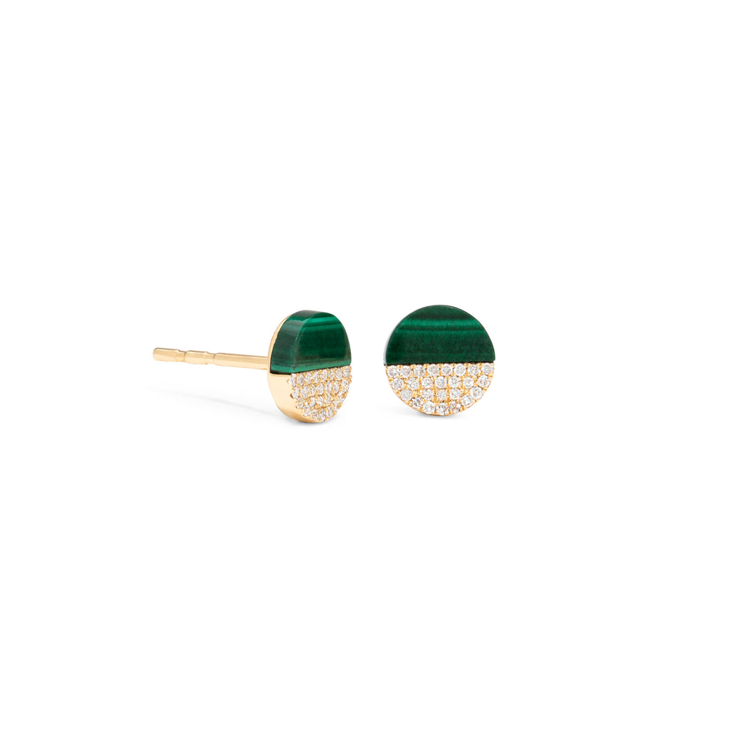 Half Malachite Half Diamond Studs