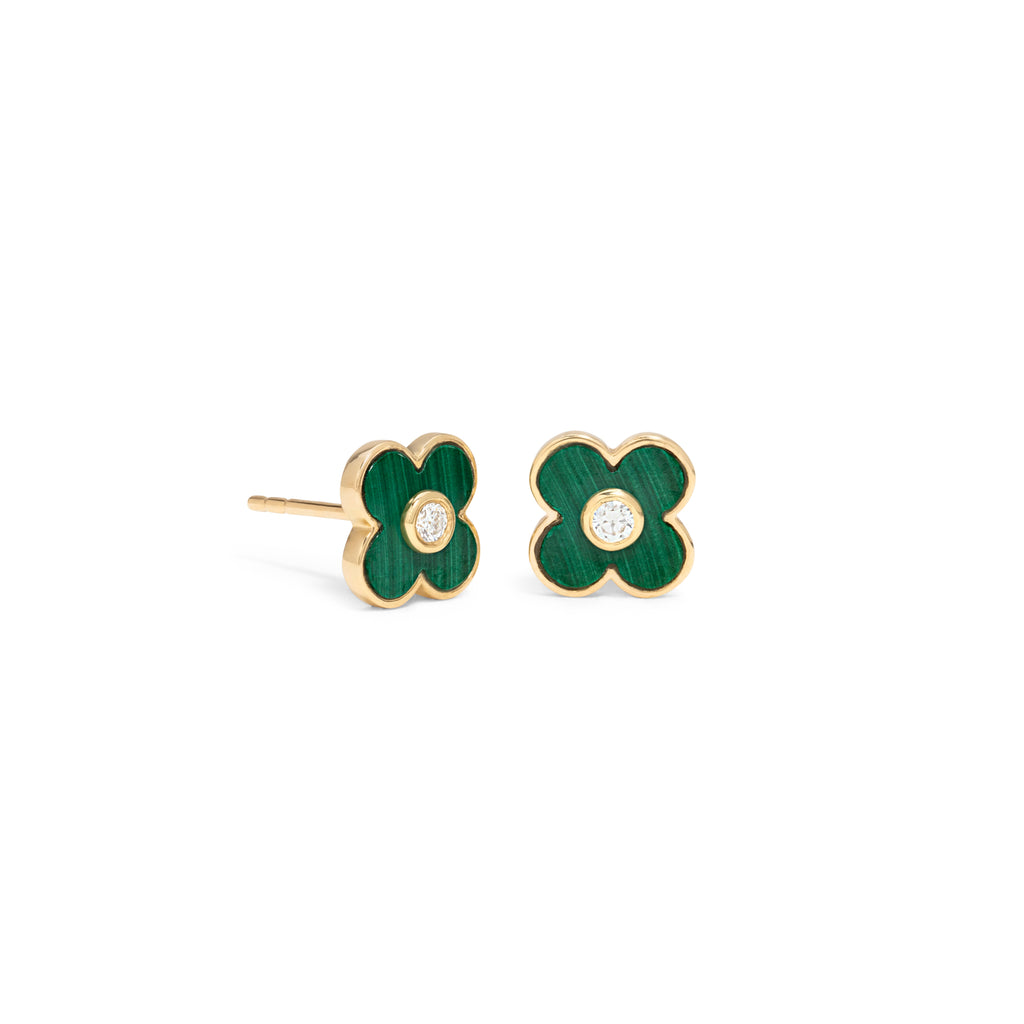 Malachite Flower Studs