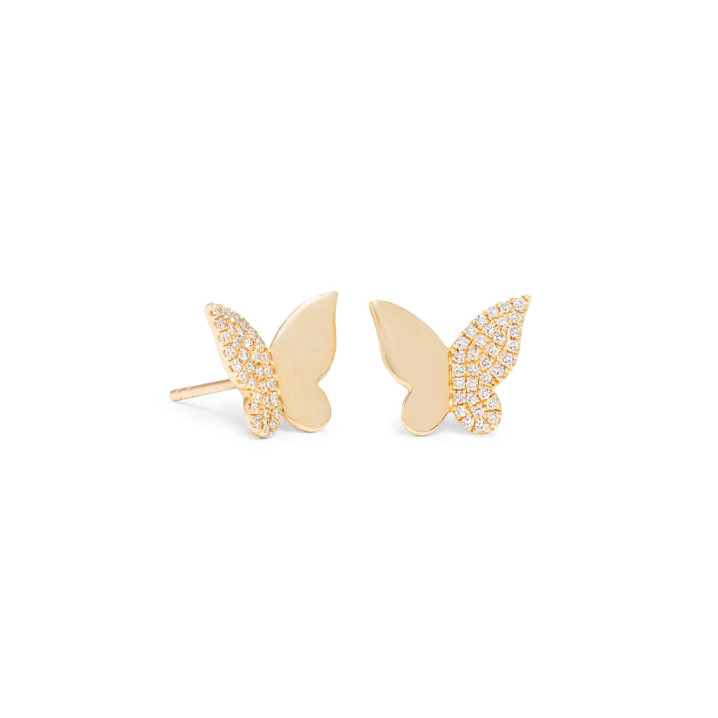 Half Diamond Butterfly Studs