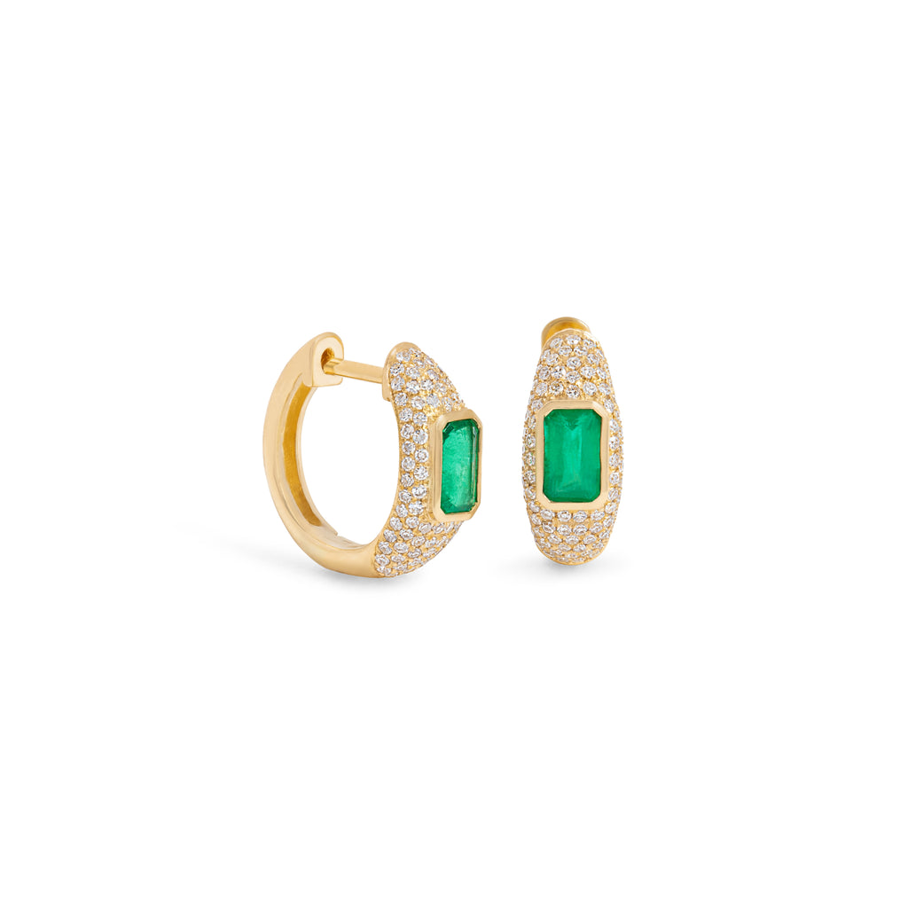 Diamond Dome Earring with Emerald