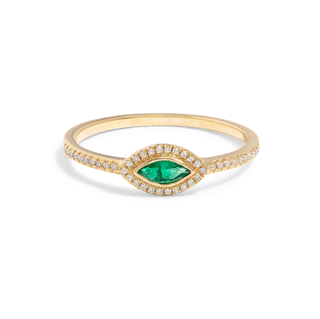 Marquise Emerald Pave Ring