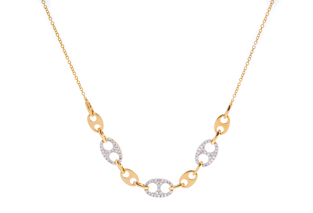 Open Link Diamond & Gold Necklace