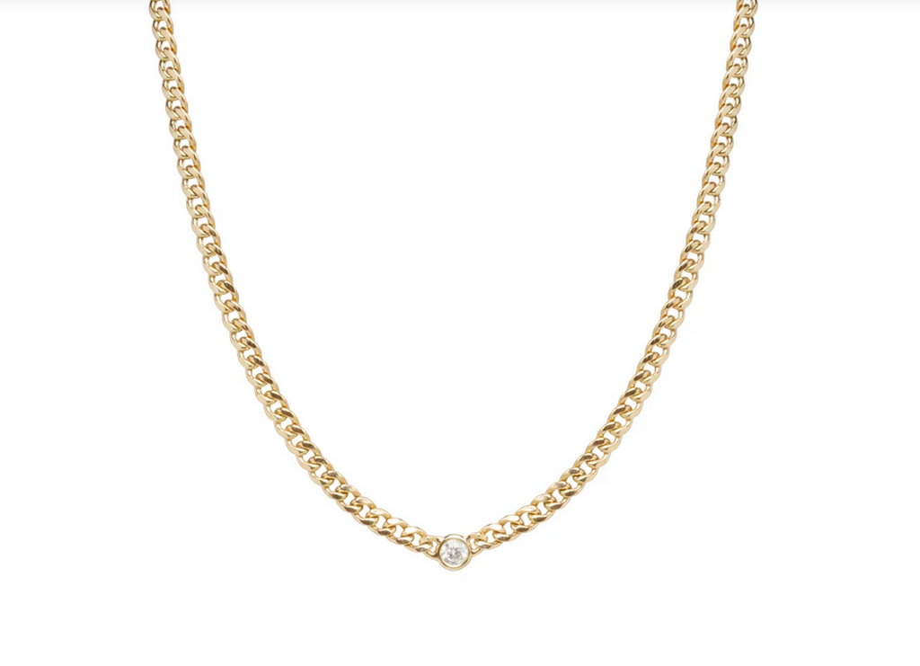 Curb Chain with Diamond Necklace
